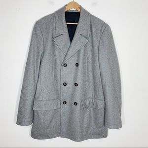 LRL wool double breasted button up peacoat